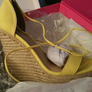 Brand new suede yellow wedges